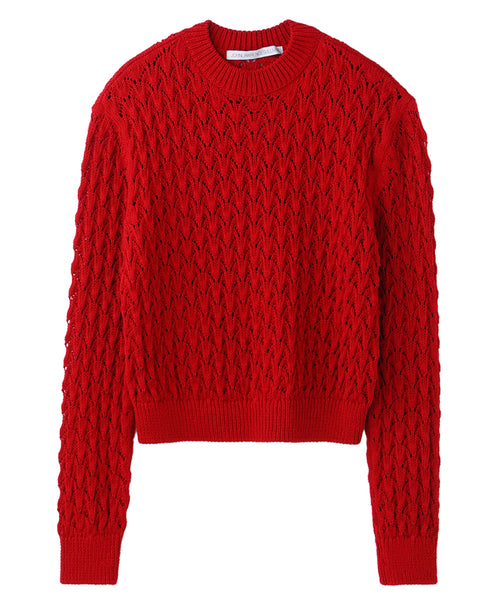 CABLE KNIT SWEATER / RED