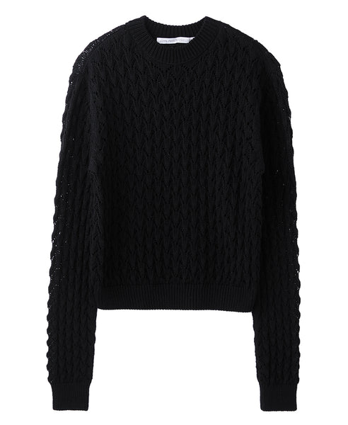 CABLE KNIT SWEATER / BLACK
