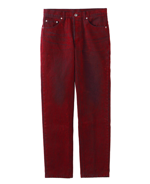 5POCKET FLOCKED DENIM PANTS / RED