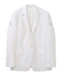 1B NOTCHED LAPEL JACKET WITH BODY PIERCING JEWELRY / WHITE