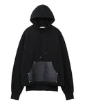 LEATHER POCKET HOODIE / BLACK