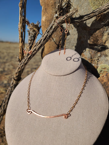 Handmade Pure Copper Healing Set, Necklace, Bracelet and Earrings.