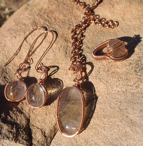 Golden Rutile, Pure Copper Healing Pendant, Ring and Earring set. All handmade and one of a kind. Reiki healed Jewelry.