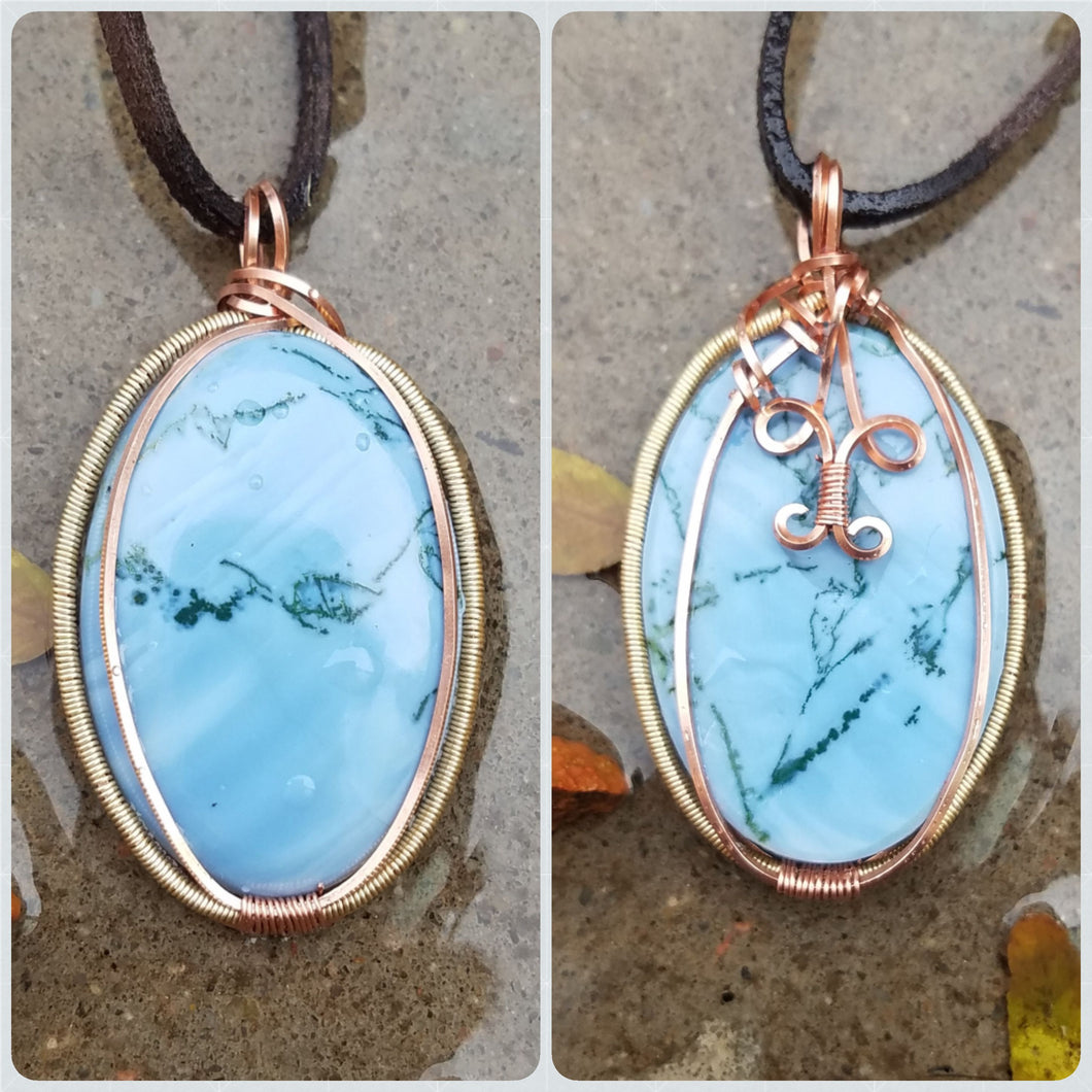 Blue Opal Twisted and Bent Copper Pendant