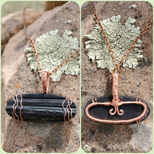 Black Tourmaline Druzy Twisted and Bent Copper Pendant
