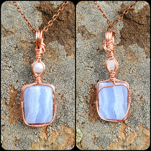 Moonstone, Blue Lace Agate Twisted and Bent Copper Pendant