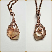 Load image into Gallery viewer, Brazilian Sunstone Twisted and Bent Copper Pendant