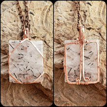 Load image into Gallery viewer, Tourmalated Quartz Twisted and Bent Copper Pendant