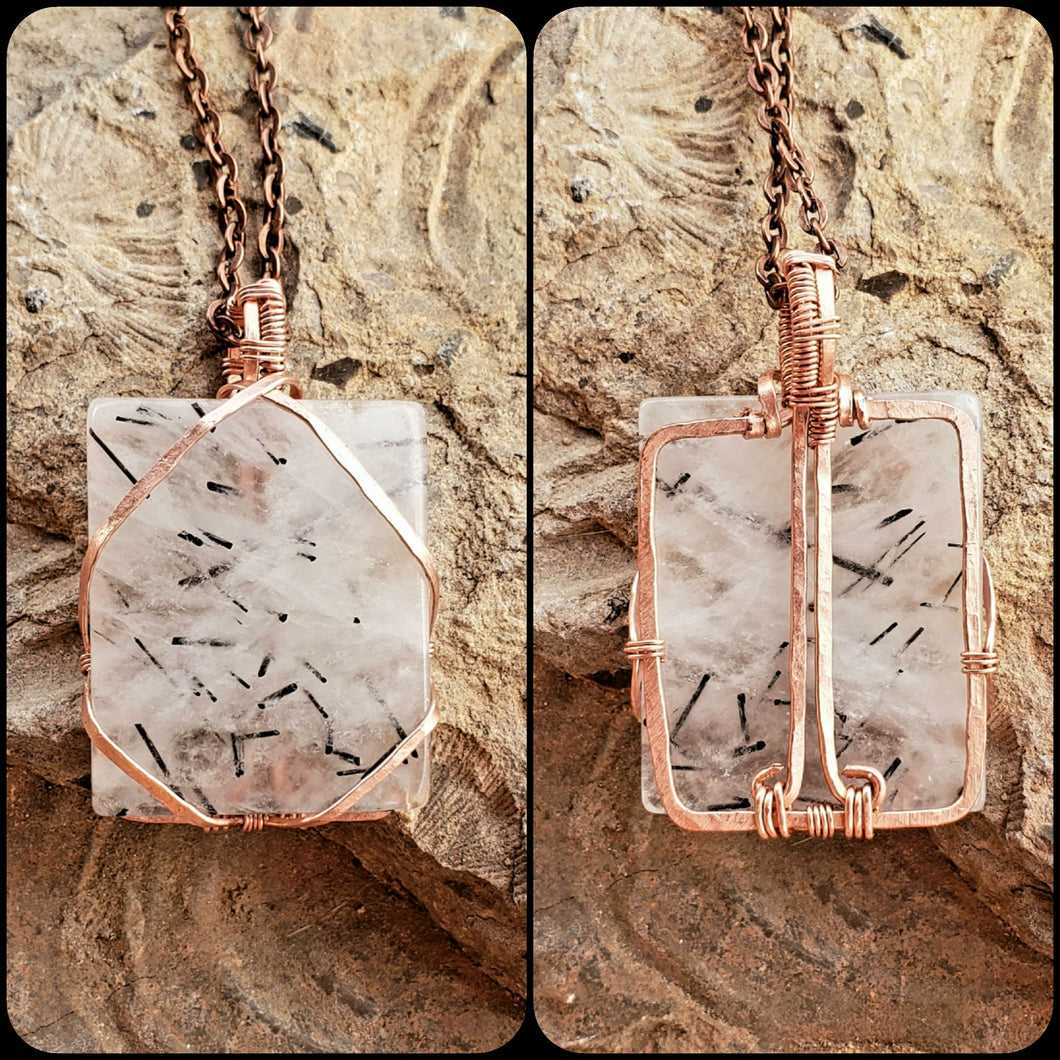 Tourmalated Quartz Twisted and Bent Copper Pendant