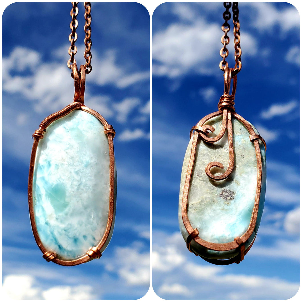 Larimar Twisted and Bent Copper Pendant