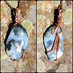 Marcasite Twisted and Bent Copper Pendant