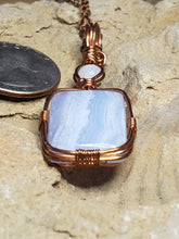 Load image into Gallery viewer, Moonstone, Blue Lace Agate Twisted and Bent Copper Pendant