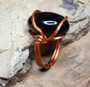 Black Onyx Hammered and Bent Copper Ring