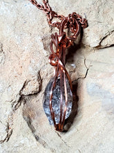 Load image into Gallery viewer, Golden Enhydro Quartz Twisted and Bent Copper Pendant