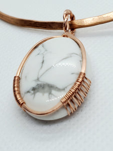 White Howlite Copper Collar Cuff Necklace