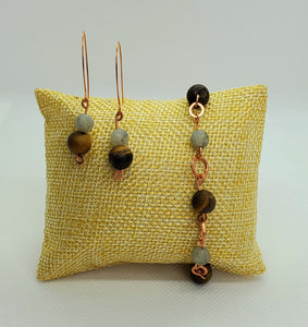 Labradorite and Tiger's Eye Copper Earring and Bracelet