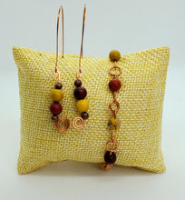 Load image into Gallery viewer, Mookaite Copper Earring and Bracelet Set