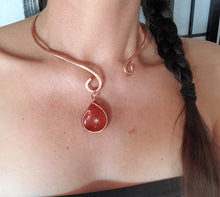 Load image into Gallery viewer, Carnelian Copper Collar Cuff Necklace