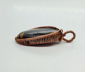 Boulder Opal Twisted and Bent Copper Pendant