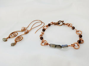 Labradorite Copper Earring and Bracelet Set