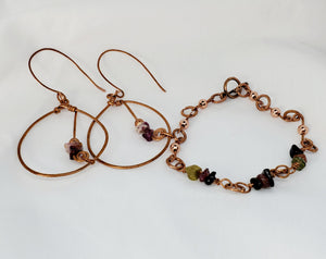 Mixed Tourmaline Copper Earring and Bracelet Set