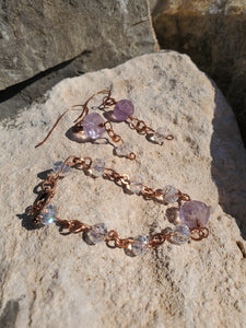 Vintage Amethyst and Clear Quartz Copper set