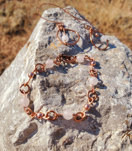 Rose Quartz Copper Earring and Bracelet Set