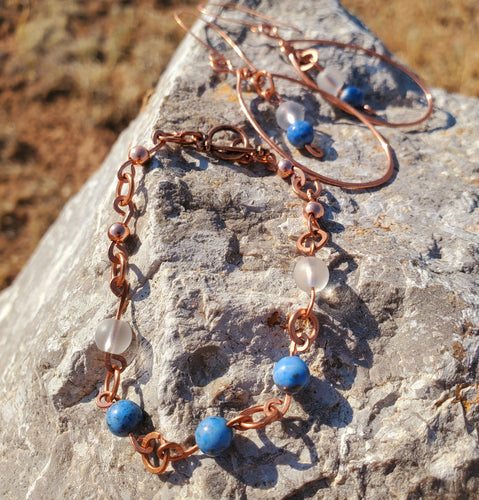 Denim Lapis Lazuli and Matte Clear Quartz Copper Earring and Bracelet Set