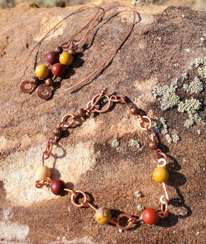 Mookaite Copper Earring and Bracelet Set