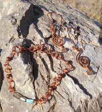 Load image into Gallery viewer, Labradorite Copper Earring and Bracelet Set