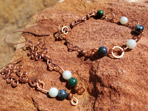 Amazonite and Chrysocolla Copper Earring and Bracelet Set