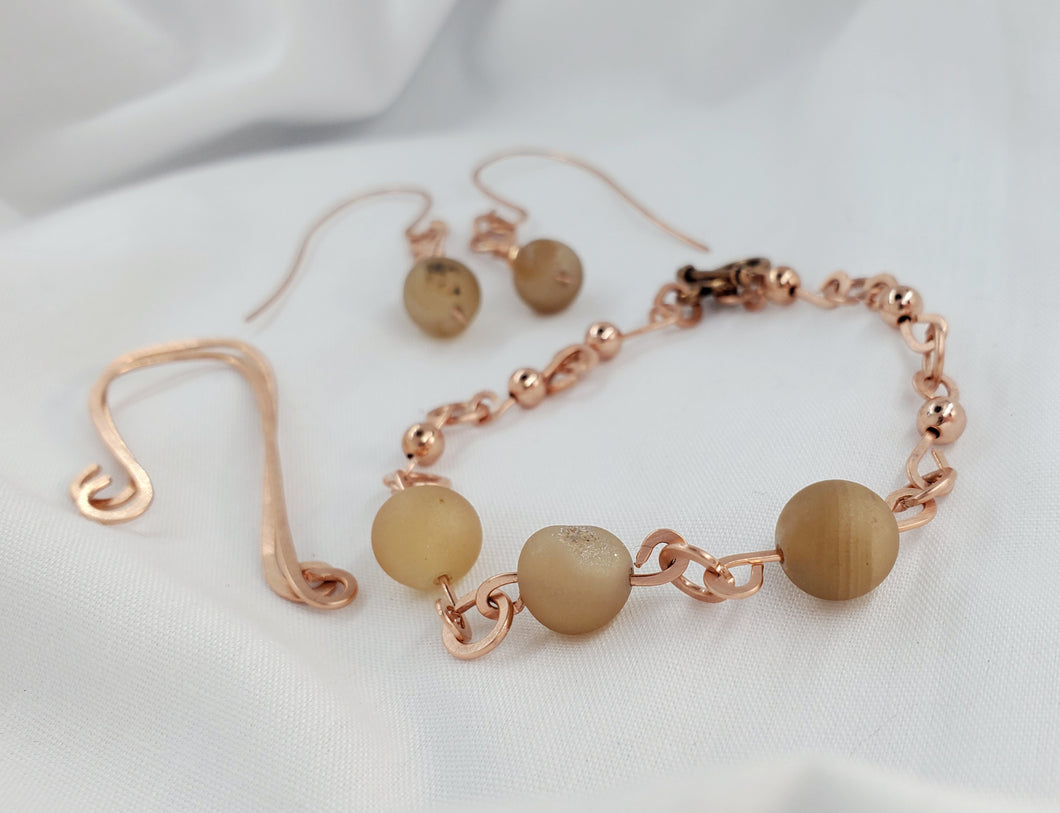 Druzy Crystal Earrings and Bracelet