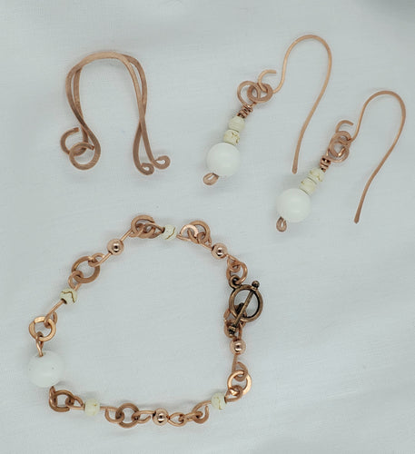 White Howlite and White Conch Earrings and Bracelet