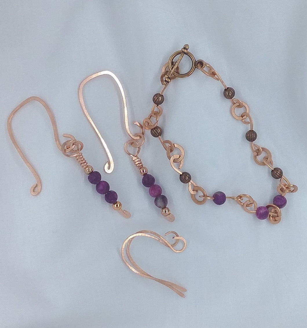 Purple Agate Earrings and Bracelet
