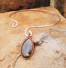 Load image into Gallery viewer, Boulder Opal Twisted and Bent Copper Pendant