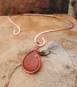 Carnelian Copper Collar Cuff Necklace