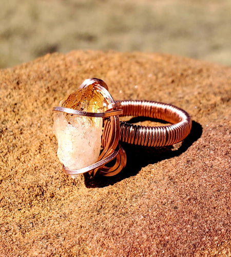 Rough Citrine Point Ring