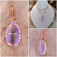 Load image into Gallery viewer, Aura Quartz and Tanzanite Healing Copper Pendant