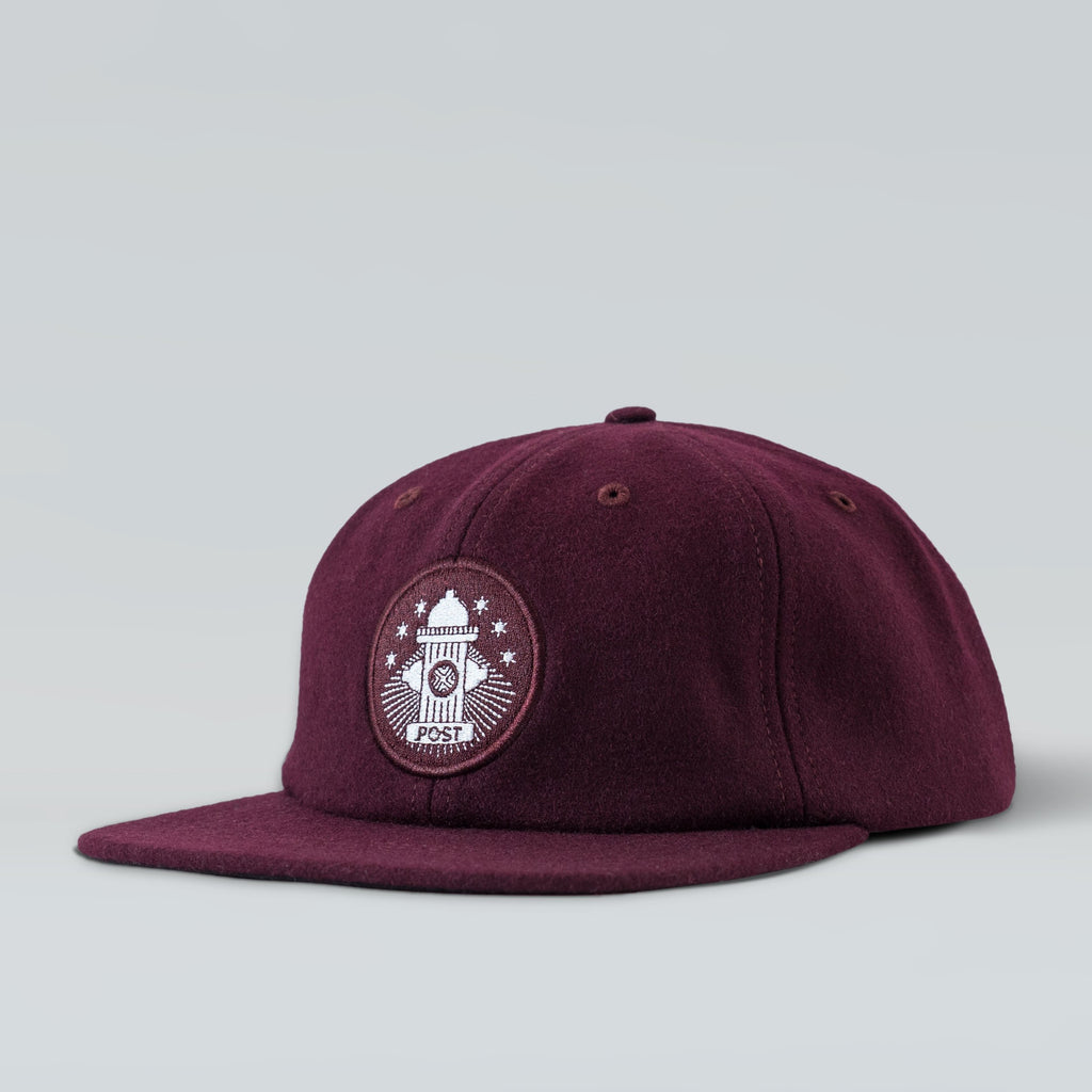 Post Details Six panel cap Hydrant Patch - Burgundy
