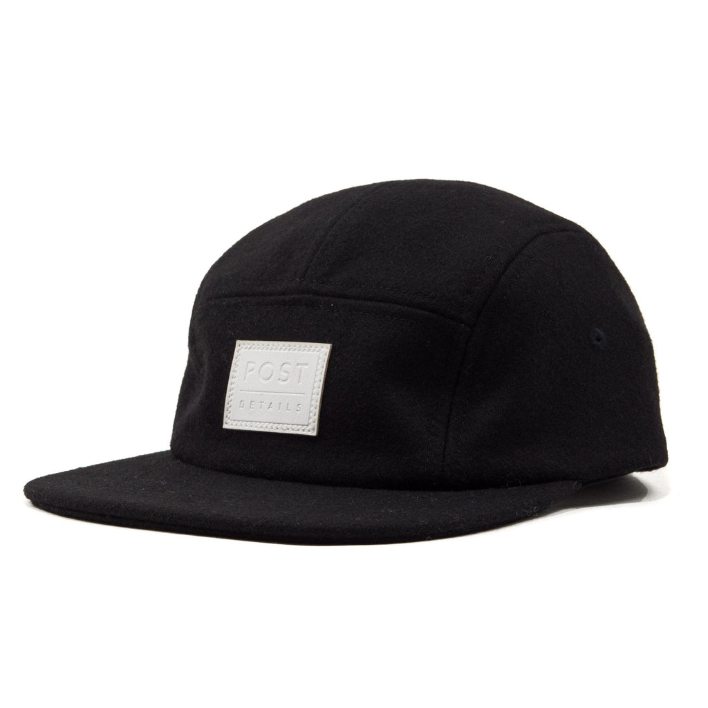 Five panel wool cap Black