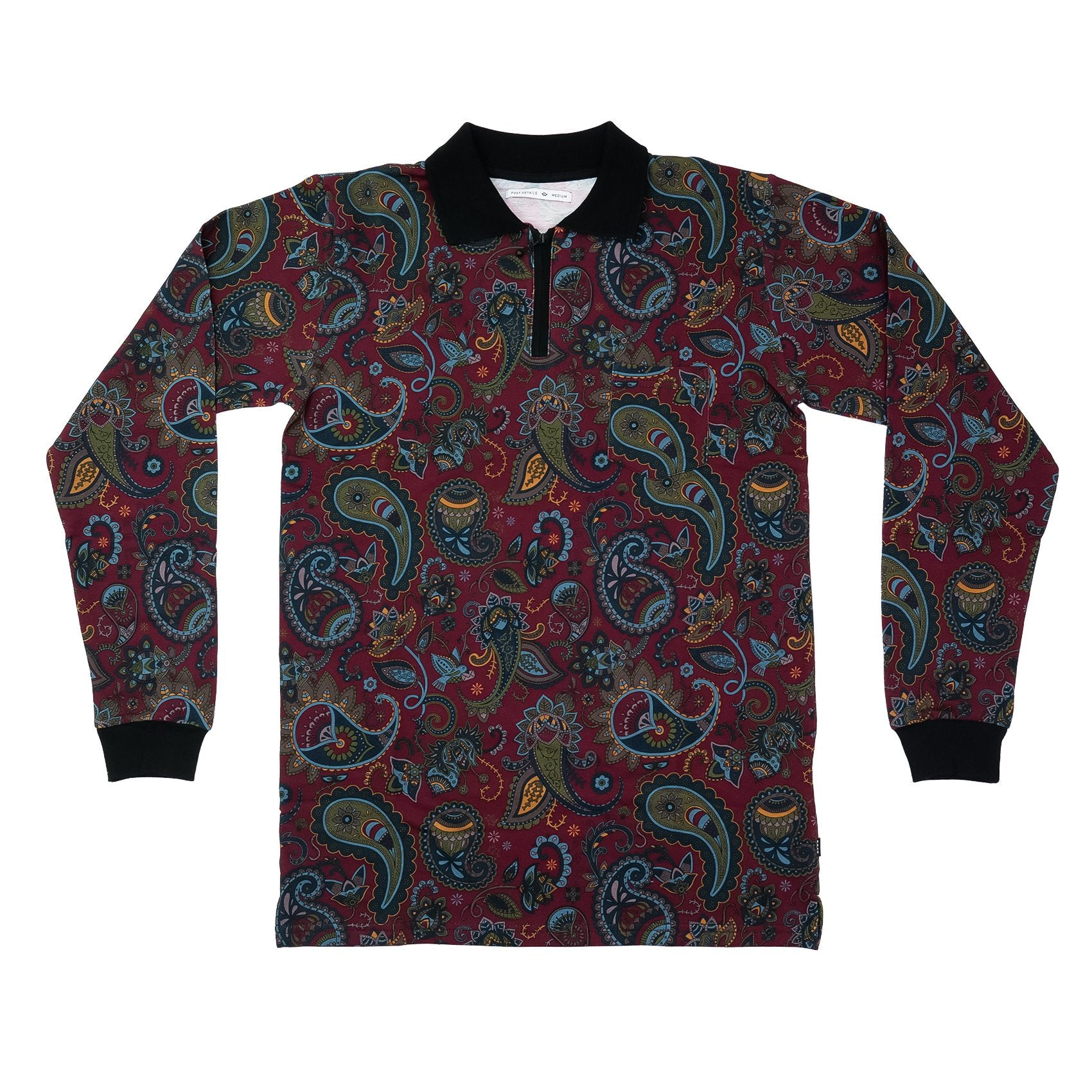 Paisley Long sleeve Polo shirt Burgundy