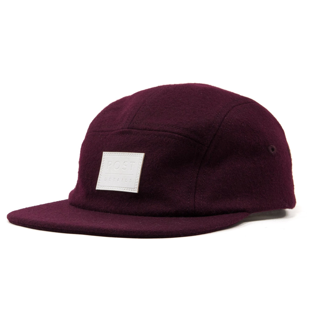 Five panel wool cap Burgundy