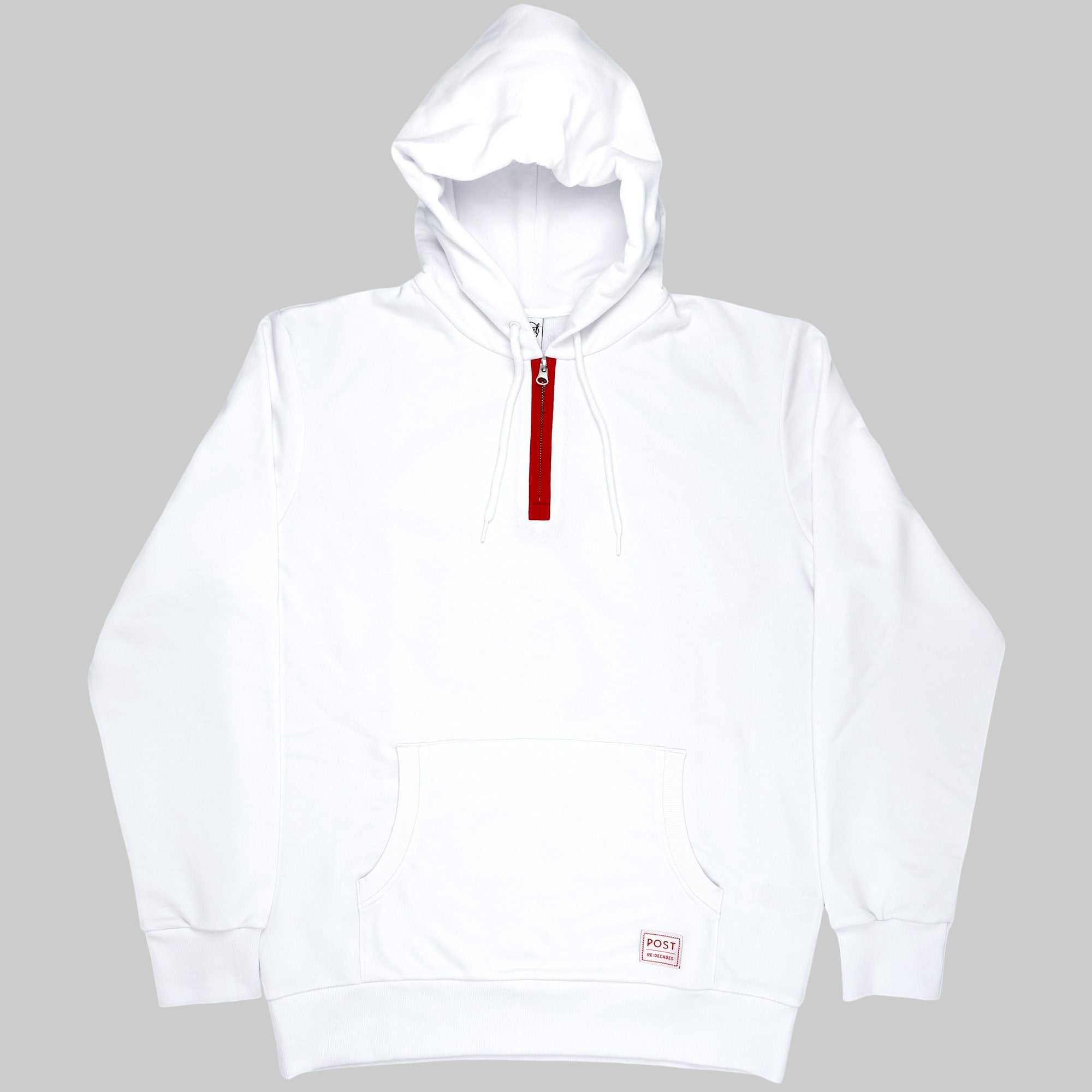 Post REdecades Half zip hoodie Athletic Circle - White