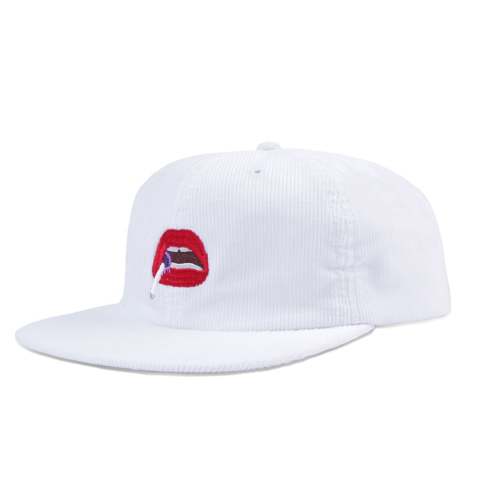 Post Kitsch Cap Embroidery Mouth Corduroy White