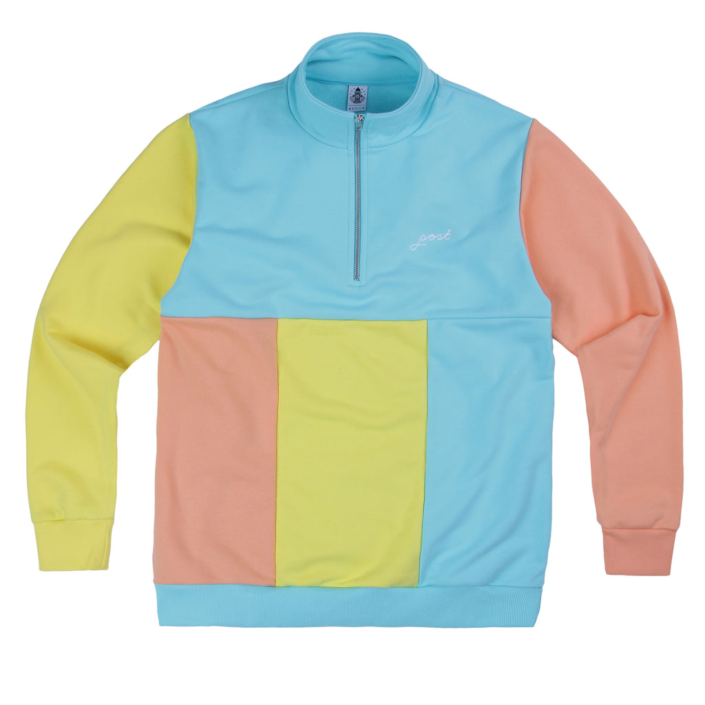 Post Multicolor Half Zip - Aqua/Yellow/Peach