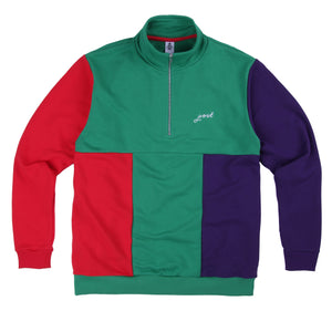 Post Multicolor Half Zip - Green/Red/Purple