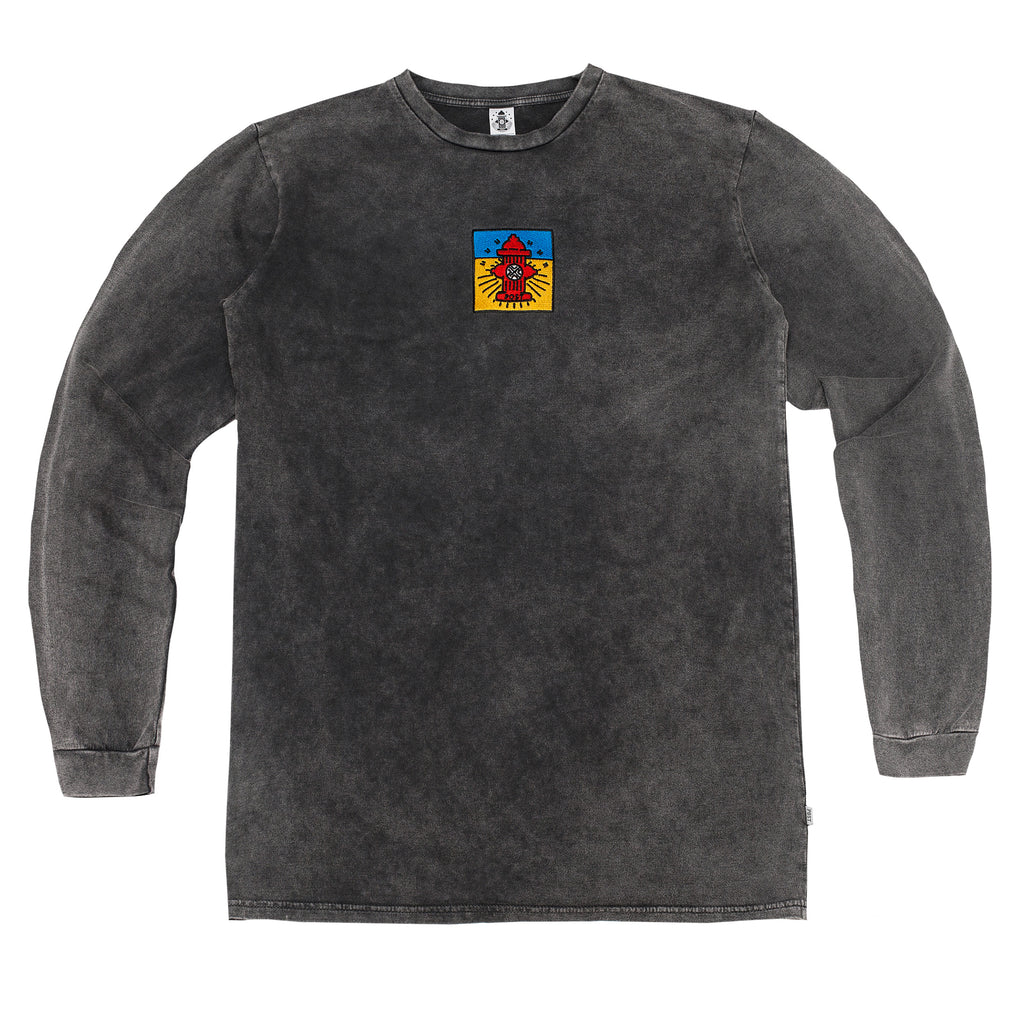 Post Pop Hydrant French Terry Long sleeve T-shirt Acid black