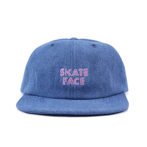 Post Skate Face Denim Cap Stone wash Blue