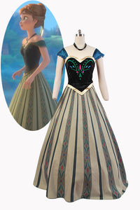 La Reine Des Neiges Princess Anna Robe du Couronnement Cosplay Costume