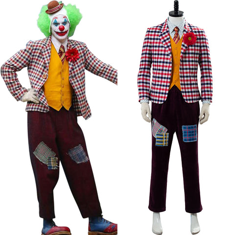 Joker 2019 Joaquin Phoenix Joker Clown Tenue Avec Perrque Cosplay Costume